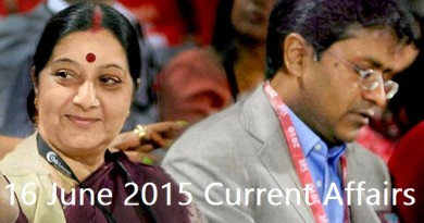 16 June 2015 Daily IAS Current Affairs UPSC