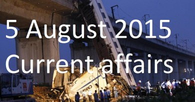 5 August 2015 Current affairs