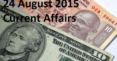 Current Affairs 24 August 2015 Latest Updates