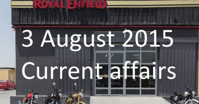 3 August 2015 Current affairs