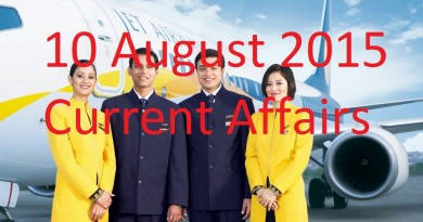 10 August 2015 Latest Current Affairs Updates