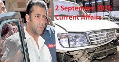 Current Affairs 2 September 2015 Latest Updates
