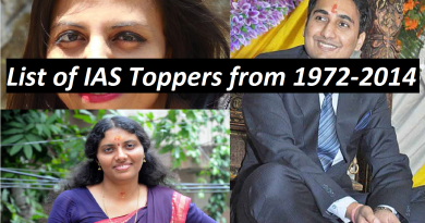 List of IAS Officers 1st Ranker from 1972-2014