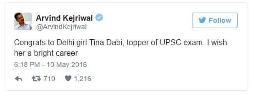 Arvind Kejriwal Tewwted Tina Dabi