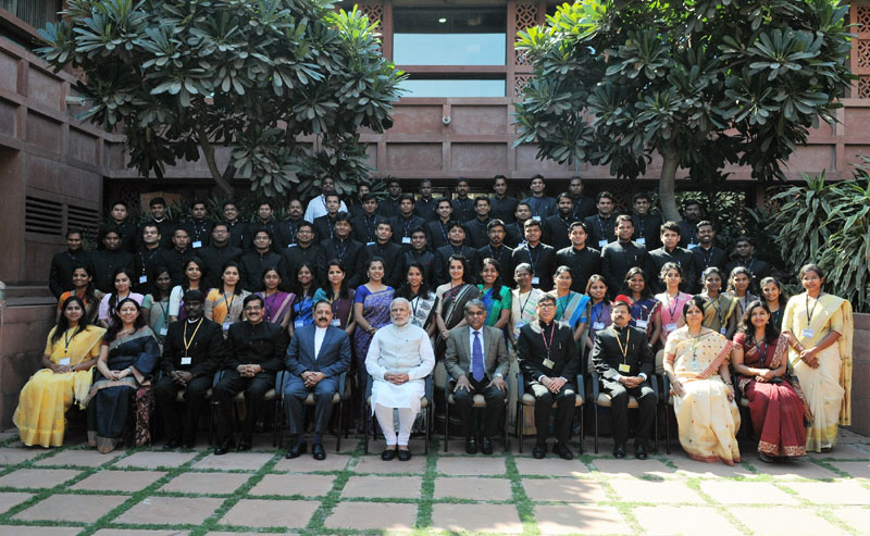 Prime Minister Narendra Modi in a group photograph with IAS probationers of 2015 batch