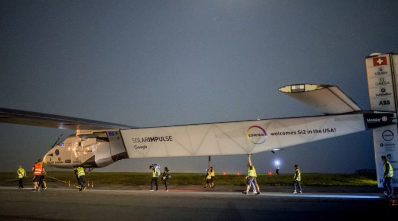 Solar Impulse 2 is pictured before taking off from at John F. Kennedy International Airport in New York