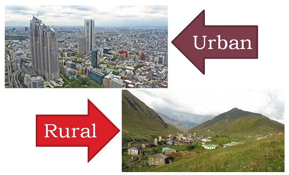 what is difference between urban and rural life
