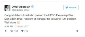 Omar Abdullah tweeted congratulations to Bhat: