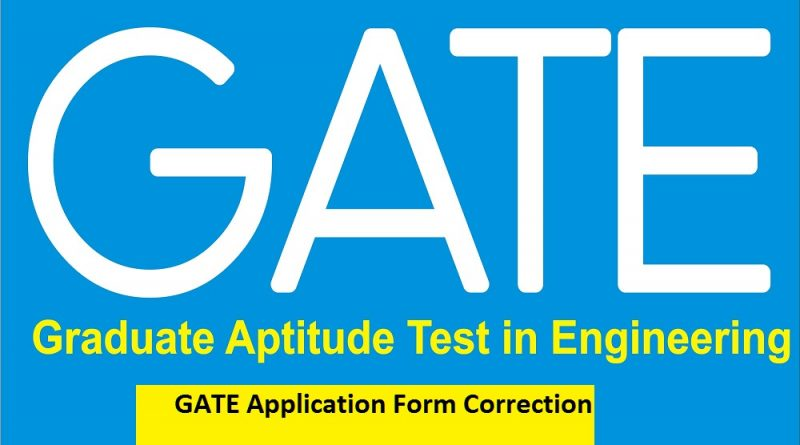 GATE Application Form CorrectionGATE Application Form Correction
