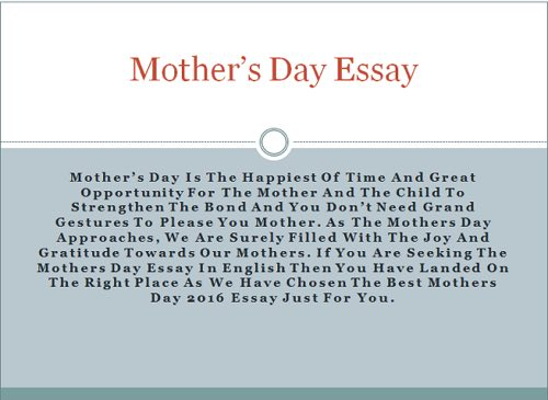 ESSAY ON MOTHERu0027S DAY