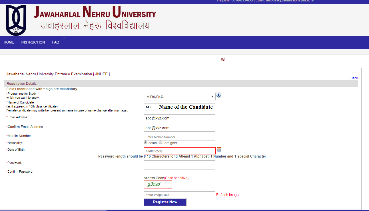 JNUEE Application Form Correction