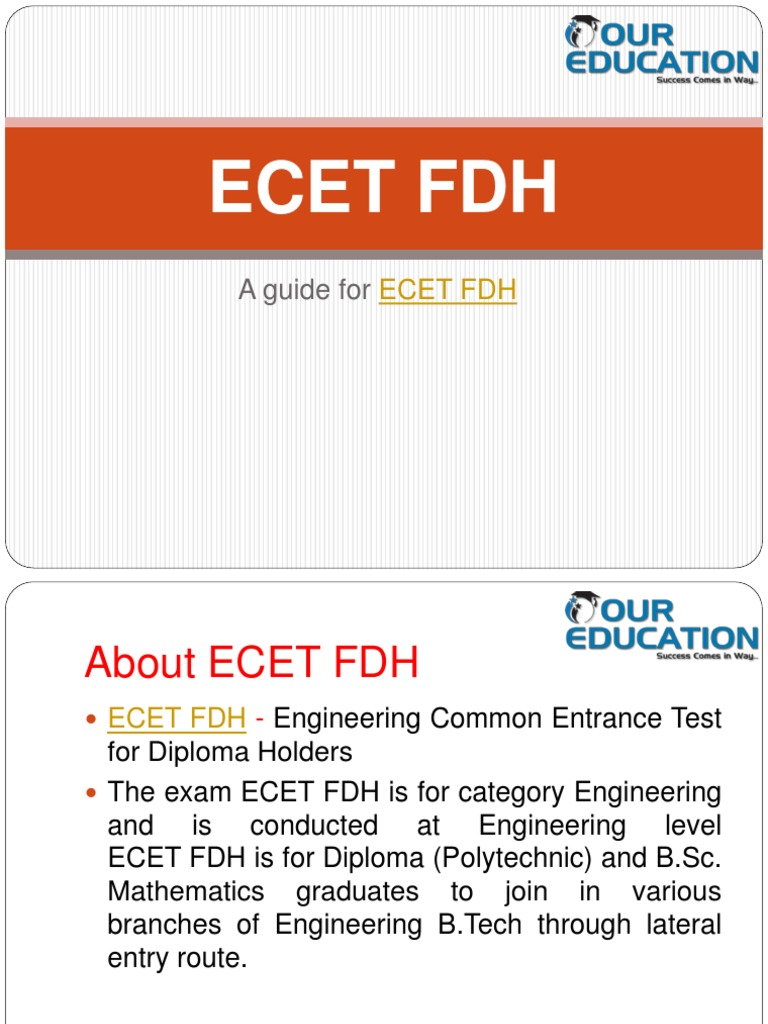 Ecet Fdh 2018  Application Form  Dates  Eligibility