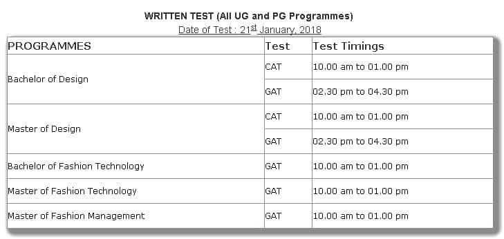 NIFT-2018-Exam-Schedule