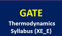 GATE 2019 Thermodynamics Syllabus